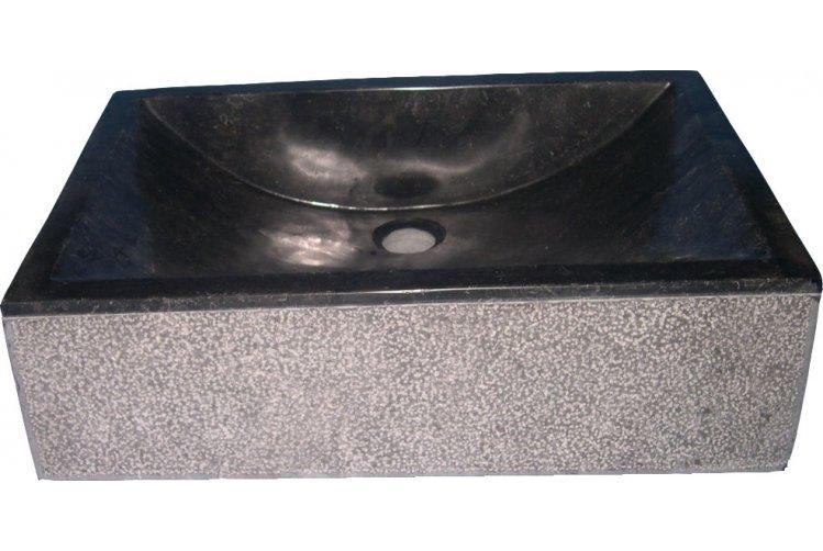 Wasbakken : marmeren wasbak met zwarte waskom
